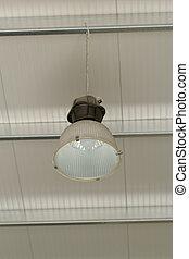 industriebedrijven, plafond lamp, hangend, van, de, dak