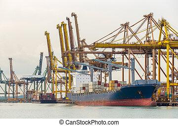 industriebedrijven, porto, container schip