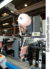 industriebedrijven, printshop:, flexo, drukken, bezig met afdrukken van