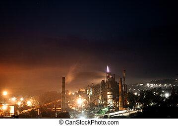industriebedrijven, reus, nacht, aanzicht, plant.