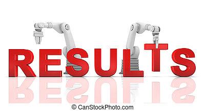 industriebedrijven, robotachtige armen, gebouw, resultaten,...
