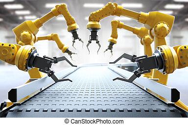 industriebedrijven, robotachtige armen
