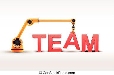 industriebedrijven, robotic wapenen, gebouw, team, woord