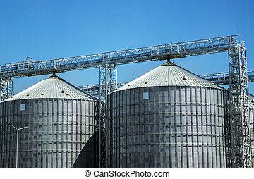 industriebedrijven, sky., opslag, silos., grondstoffen, graanschuur, open