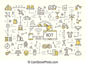 industriebedrijven, spullen, concept, internet