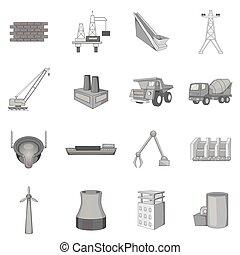 industriebedrijven, techniek, iconen, set