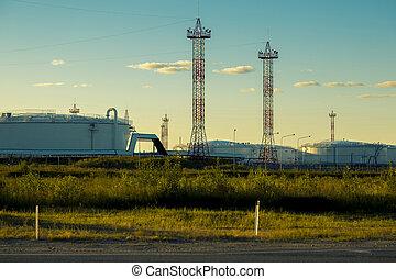 industriebedrijven, technisch, landscape, op, een, blauwe hemel, achtergrond