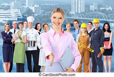 industriebedrijven, workers., vrouw, groep, zakelijk