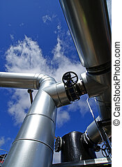 industriebedrijven, zone, staal, pijpleidingen, en, kleppen, tegen, blauwe hemel