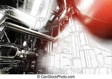 industriebedrijven, zone, staal, pijpleidingen, kleppen, en,...