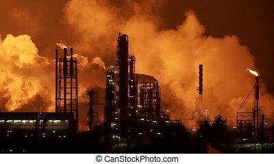 industriebereiche, rauchwolken, nacht