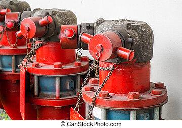 industrieel vuur, hydrant, buiten, groot, het water van de brand, pipe.