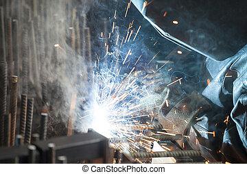 industrieele werker, lassen