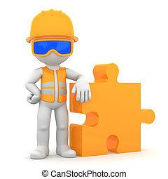 industrieele werker, met, stuk, van, puz