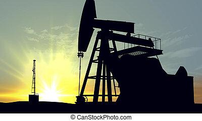 industriel, énergie, machine, pompe, derrick