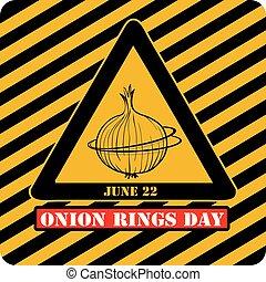 industriel, anneaux, jour, oignon, étiquette