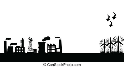 industriel, bâtiments, à, enroulez turbines