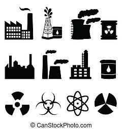 industriel, bâtiments, et, signes, icône, ensemble