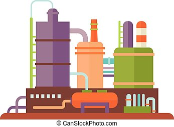 industriel, bâtiments, vecteur, usine, illustration