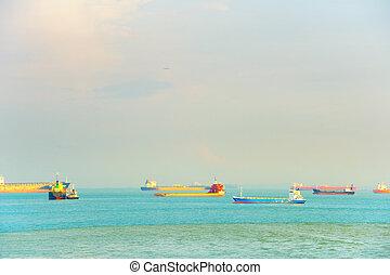 industriel, bateaux, port, singapour