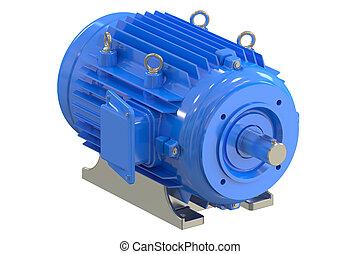 industriel, bleu, moteur électrique