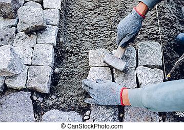 industriel, blocs, ouvrier, installation, pavé, trottoir, rochers, route