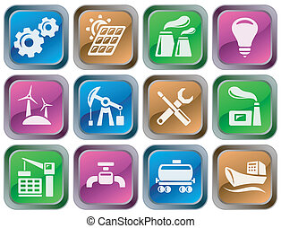 industriel, boutons