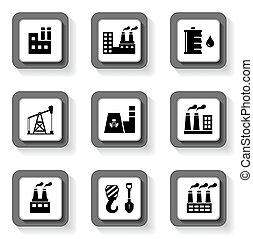 industriel, boutons, ensemble