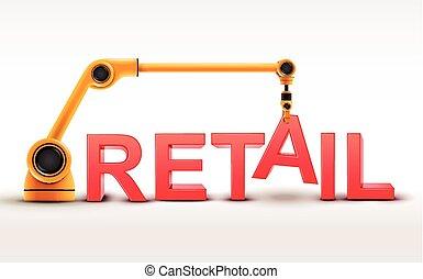 industriel, bras robotique, bâtiment, vente au détail, mot