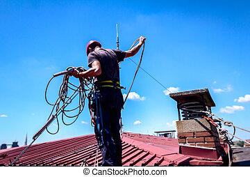 industriel, briques, cordes, sien, bondissement, fait, grimpeur, cheminée