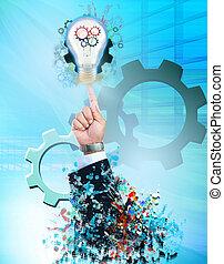 industriel, business, lumière, idée, main, thème, ampoule, homme