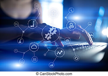 industriel, business, technology., concept., intégration, automation, solutions., intelligent