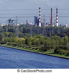 industriel, canaux transmission, de, raffinerie pétrole, usine, moscou