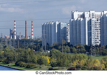industriel, canaux transmission, raffinerie, huile, usine, moscou
