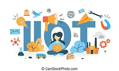 industriel, choses, concept, internet
