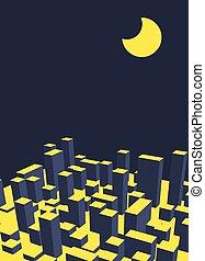 industriel, city., town., résumé, illustration, horizon, vecteur, nuit, paysage