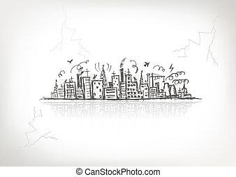 industriel, cityscape, skitse, affattelseen, by, din,...