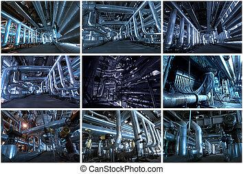industriel, collage, afbildningerne, baggrunde, lavede, 9