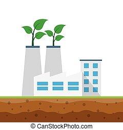 industriel, concept, écologie, usine, bâtiments.