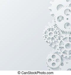 industriel, concept., moderne, mécanisme, arrière-plan., vecteur, engrenages, technologie