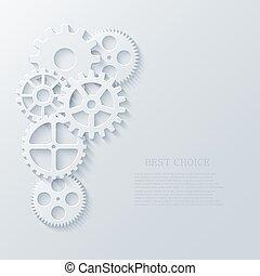 industriel, concept., moderne, mécanisme, vecteur, engrenages, fond, technologie