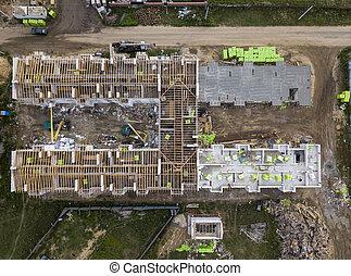 industriel, construction, aérien, progress., site, area., vue