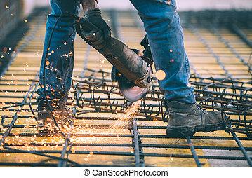 industriel, construction, ingénieur, découpage, acier, utilisation, angle, scie mitre, broyeur, et, tools., filtred, image, à, retro, effet