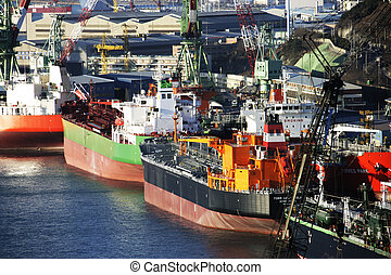 industriel, corée, chantier naval, complexe, ulsan, sud