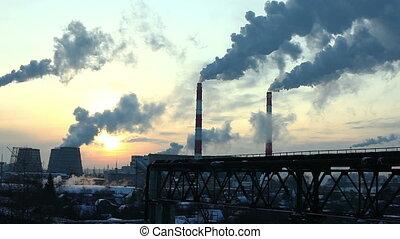 industriel, coucher soleil, hiver, fumée, vue