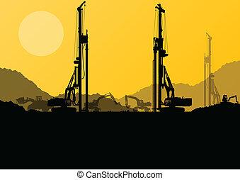 industriel, creuser, excavateur, machines, ouvriers, site, hydraulique, tracteurs, vecteur, tas, forage, fond, construction, chargeurs