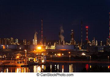 industriel, de, bouc, france, complexe, nuit, port