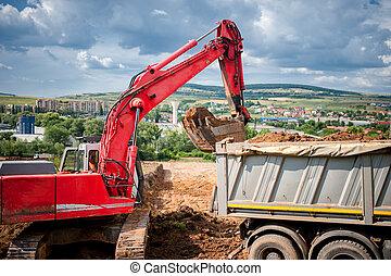 industriel, debout, rised, chargeur, backhoe, excavateur