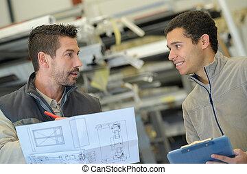 industriel, discuter, plan, ingénieur