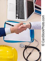 industriel, doktor, agreeing, driftsleder, dækning, forsikring